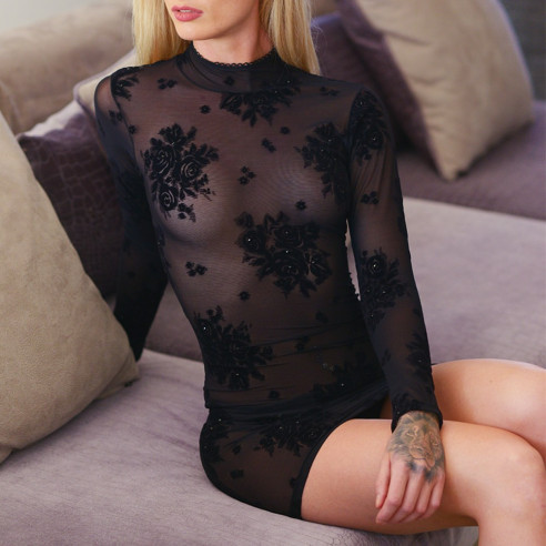 Robe sexy manches longues strass et...