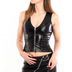 Top wetlook zip et laçage –...